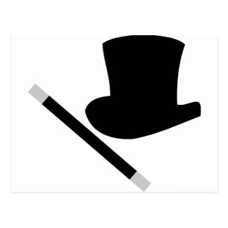 magician top hat and magic wand postcards