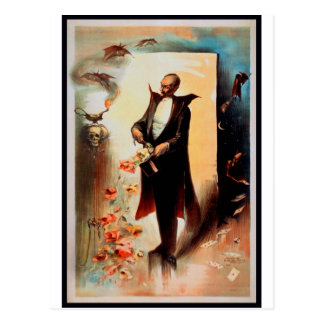 Magician with skull and roses (1892) postcard