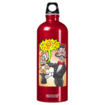 Magician's bunny feeling mad and saying bad words aluminum water bottle