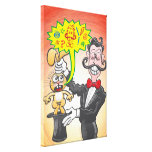 Magician's bunny feeling mad and saying bad words canvas print
