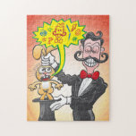Magician's bunny feeling mad and saying bad words jigsaw puzzle