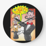 Magician's bunny feeling mad and saying bad words large clock
