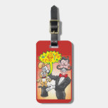 Magician's bunny feeling mad and saying bad words luggage tag