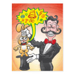 Magician's bunny feeling mad and saying bad words postcard