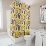 Magician's bunny feeling mad and saying bad words shower curtain