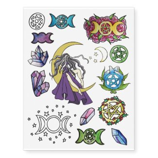 Magick Pagan Pentagram Pack Temporary Tattoos