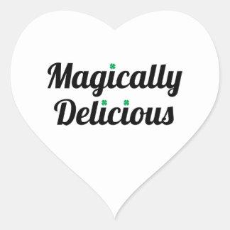 Mágico delicioso pegatina en forma de corazón