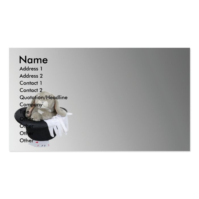 MagicRabbitHat, Name, Address 1, Address 2, Con... Business Card