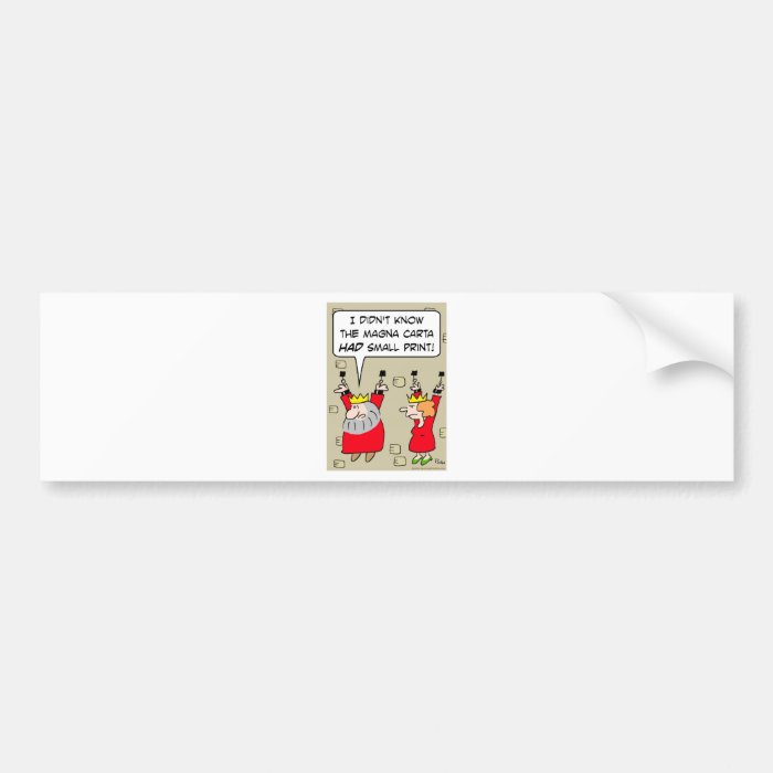 magna carta small print king chains bumper sticker