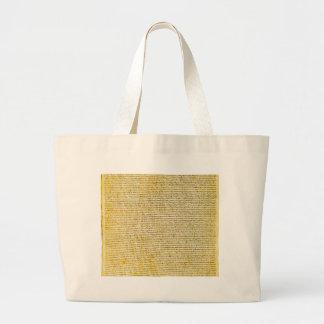 Magna Carta text Large Tote Bag