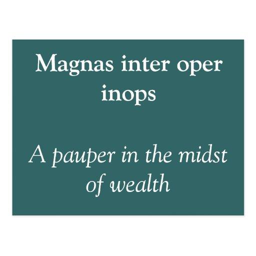 Magnas inter oper inops postcard