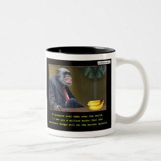 Magnates del plátano taza de café de dos colores