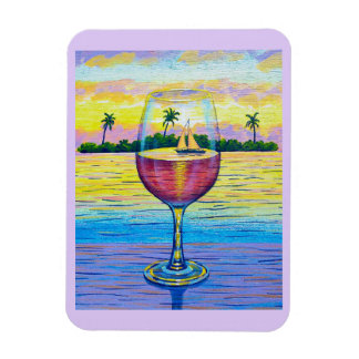 Magnet,  A Glass of Wine, a World Away Magnet