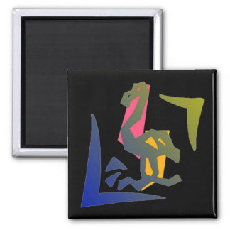 MAGNET- ABSTRACT NEON FLAMINGO IN THE DARK! 2 INCH SQUARE MAGNET