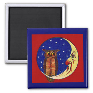 MAGNET ~ ANTHROPOMORPHIC SLIVER MOON & NIGHT OWL