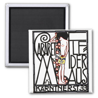 Magnet: Art Nouveau - Cabaret Fledermaus 2 Inch Square Magnet