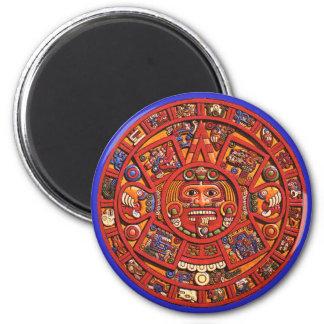 Magnet: Aztec sun stone 2 Inch Round Magnet