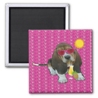 Magnet Baby Basset Hound Summer Time 2 Inch Square Magnet