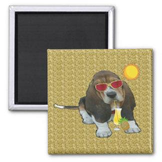 Magnet Baby Basset Hound Summer Time