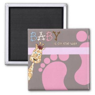Magnet Baby Shower Invitation Bare Feet Giraffe