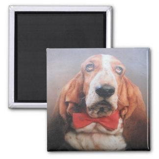 Magnet Basset Hound Red Bow Tie
