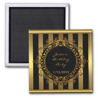 Magnet Birthday Party Elegant Gold Black Stripe