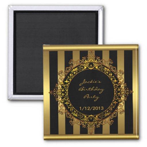 Magnet Birthday Party Elegant Gold Black Stripe Magnets