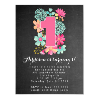 |MAGNET| Chalkboard Girls 1st Birthday Party Magnetic Card