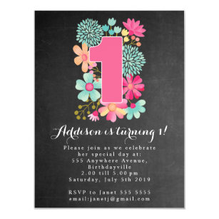 Magnets party invitations announcements zazzle magnet chalkboard girls 1st birthday party magnetic invitation filmwisefo