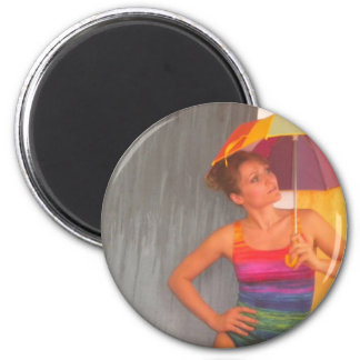 magnet circle rainbow umbrella girl