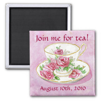 Magnet - Customize me! Pink Rose Teacup Tea