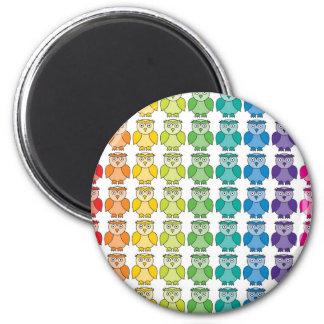 Magnet - Cute Rainbow Owl Pattern