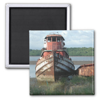 Magnet: Discarded Tugboat 2 Inch Square Magnet