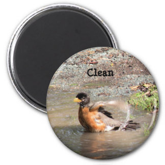 Magnet, Dishwasher, Clean Robin 2 Inch Round Magnet