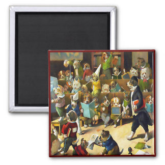 Magnet: Dog School by Louis Wain 2 Inch Square Magnet