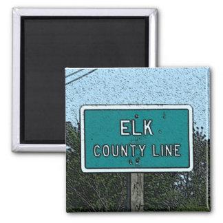 Magnet: Elk County Line 2 Inch Square Magnet