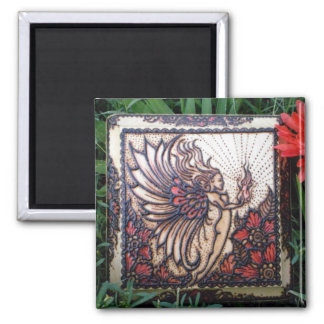 Magnet: Fire Fairy Henna on Wood 2 Inch Square Magnet