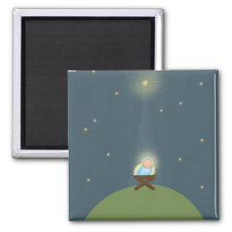 Magnet gift with baby Jesus nativity Illustration