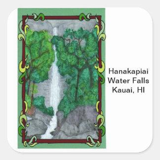 Magnet-Hanakapiai Water Falls Square Sticker