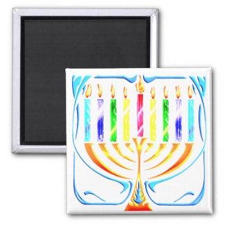 Magnet:  Hanukkah Menorah - Chanukah Menorah 2 Inch Square Magnet