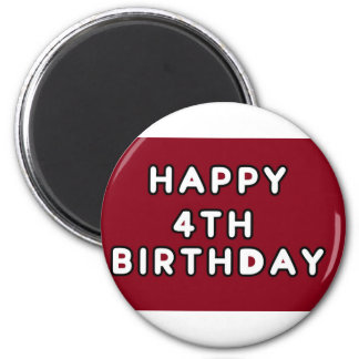 MAGNET-HAPPY 4TH BIRTHDAY RED 2 INCH ROUND MAGNET