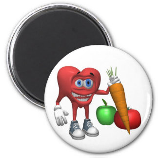 Magnet-Health Heart Fruits and Veggies 2 Inch Round Magnet
