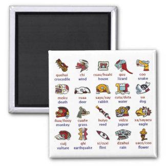 Magnet: Mixtec day symbols 2 Inch Square Magnet