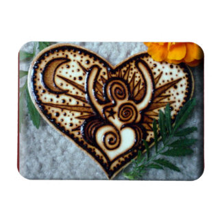 Magnet of a Henna Goddess Design on wood.