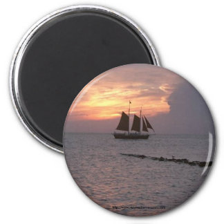 Magnet-Okracoke ship 2 Inch Round Magnet