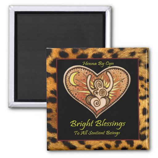 Magnet: Original Henna Goddess Drawing 2 Inch Square Magnet