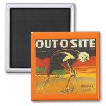 MAGNET ~ OSTRICH ~ OUT-O-SITE Orange VINTAGE LABEL