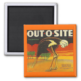 MAGNET ~ OSTRICH ~ OUT-O-SITE Orange VINTAGE LABEL