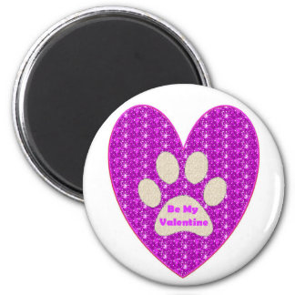 Magnet Paw Heart Pink White Be My Valentine