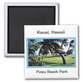 Magnet-Poipu Beach Park, Kauai, Hawaii 2 Inch Square Magnet